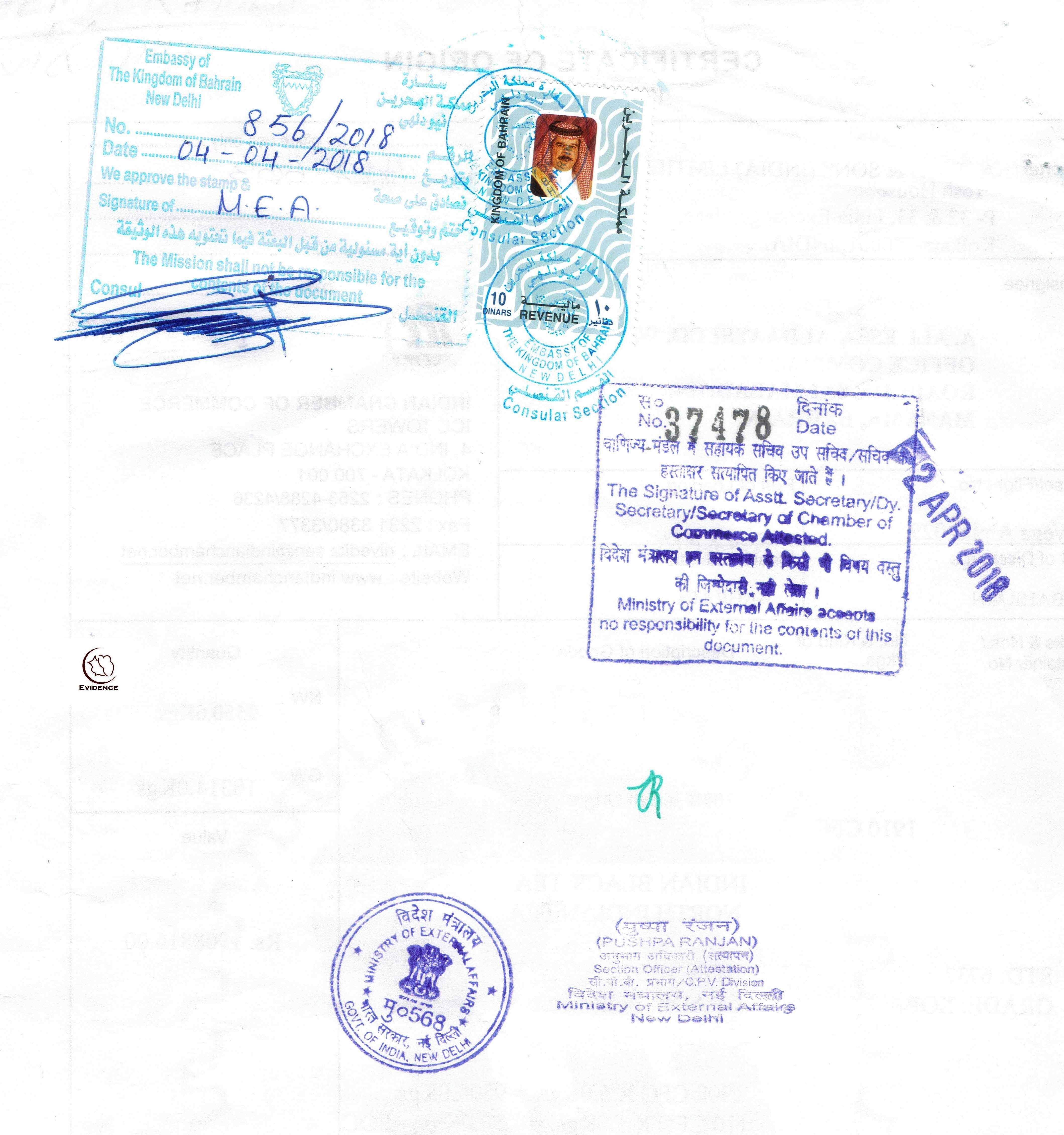 Export Document Embassy Attestation